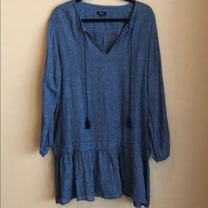Rails Large Linen Blend Drop Waist Dress